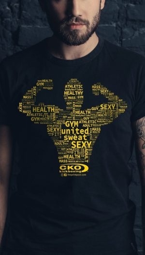 muscle words silhouette cko kickboxing screenprinting teesnink